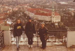 My grandmother, brother and I over looking the Decin Castle, Czech Republic (1997).