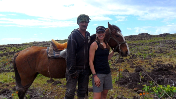Posing with our barefoot cowboy and his horse.