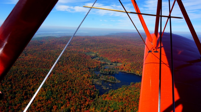 Flying over Gatineau Park.